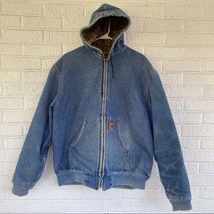 Carhartt Vintage Denim Jean Heavy Coat Size XL